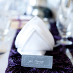 grey and white rustic placecard