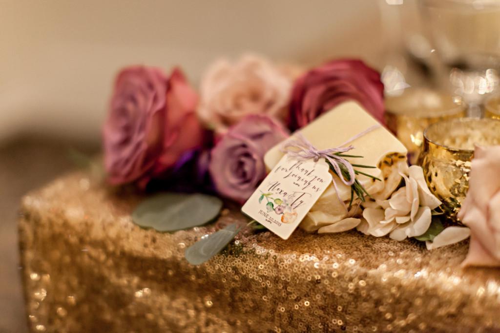 purple floral favour tags