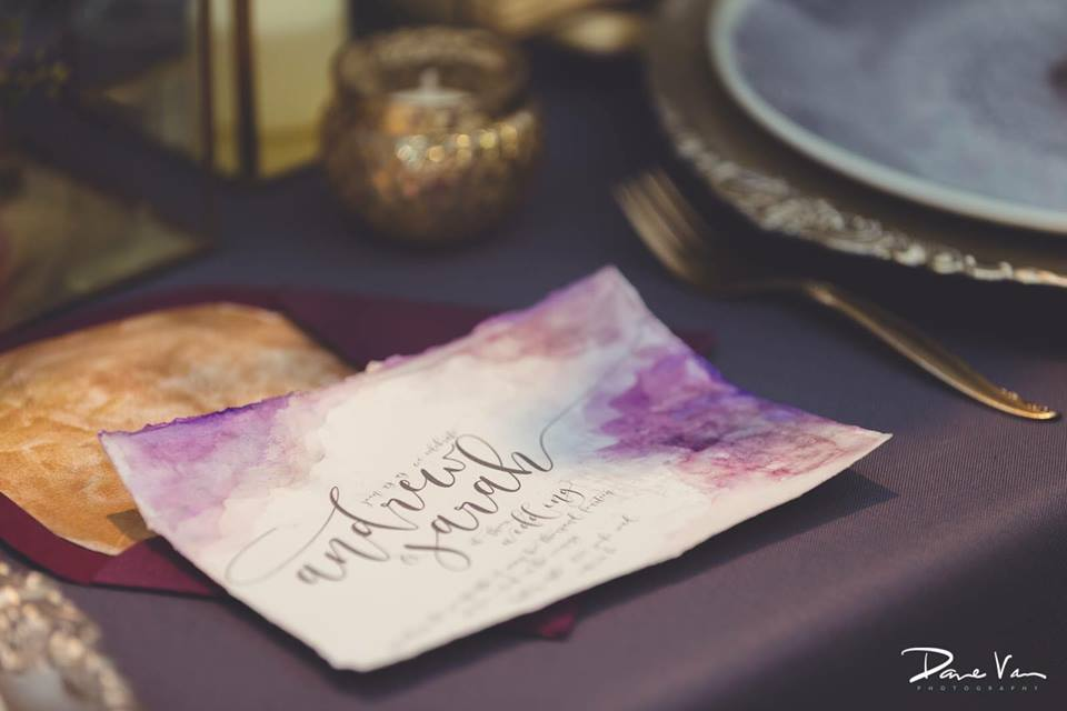 purple watercolour invitations