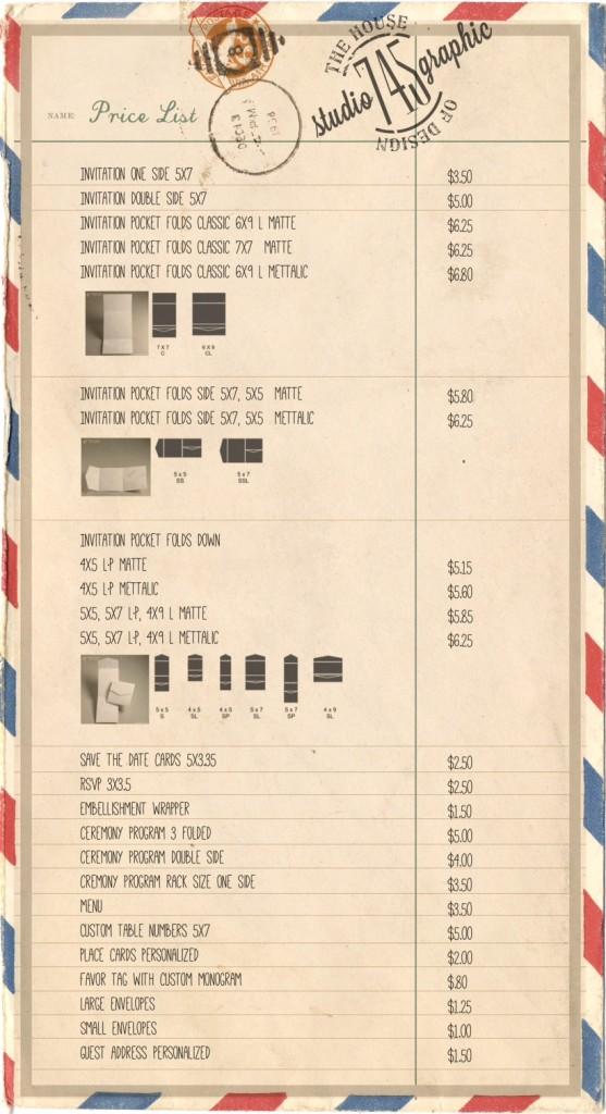 studio 745 price list