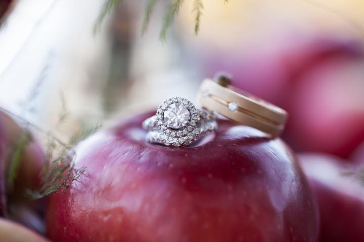 apple orchard wedding ring shot