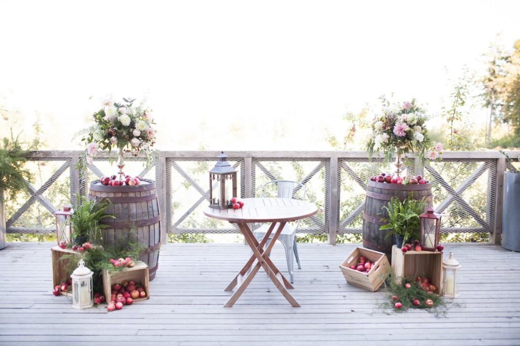 apples on winebarrels rustic ceremony arrangements seacider winery