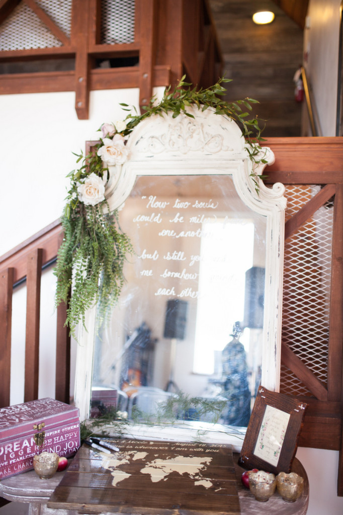 ivory vintage mirror with calligraphy