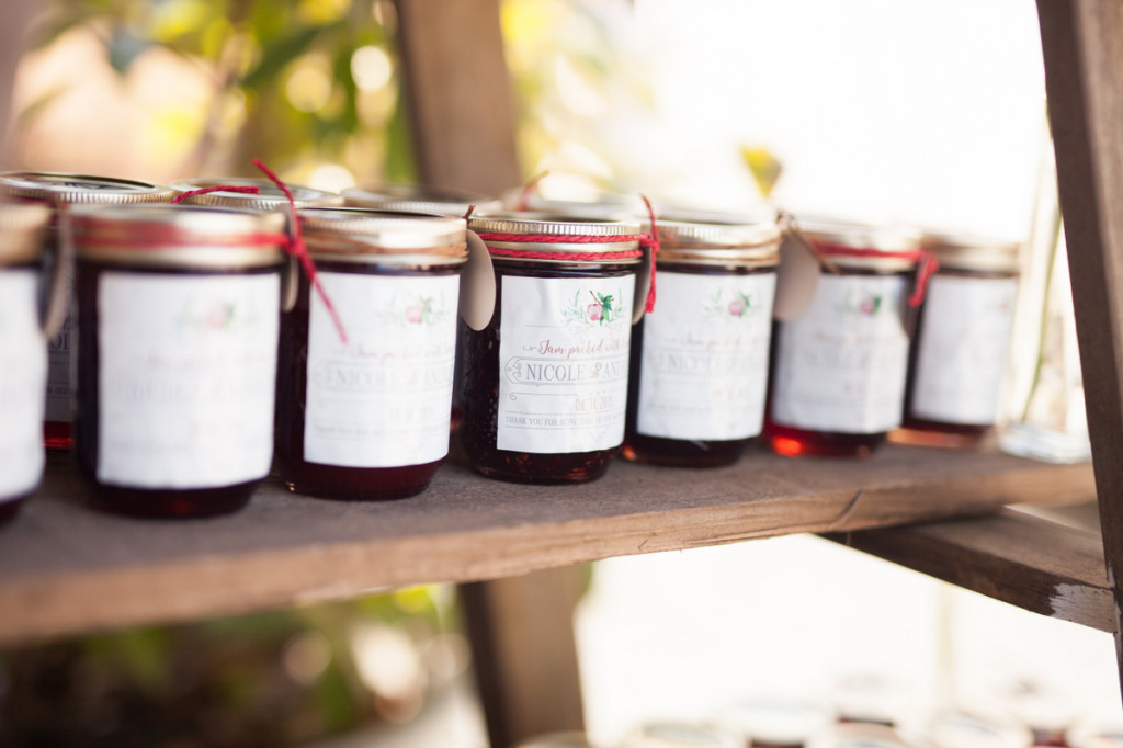 jam favours on rustic ladder