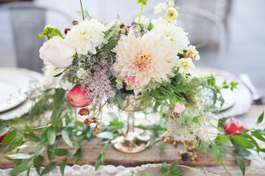 rustic centerpiece dahlias blush and blackberries