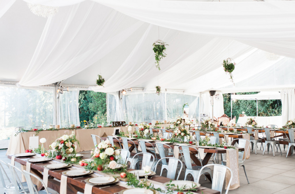 seacider tent reception rustic apple wedding
