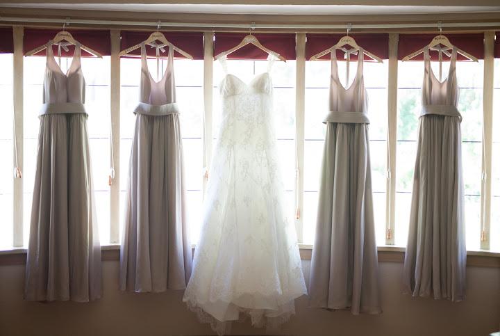 wedding dress bridesmaid shot