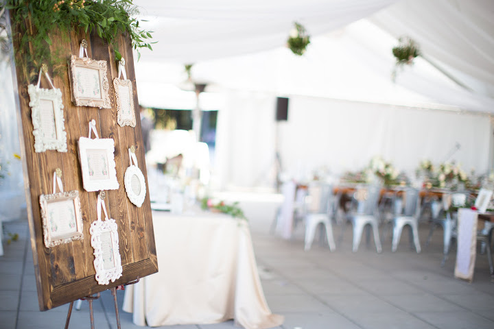 wood rustic seating chart with frames