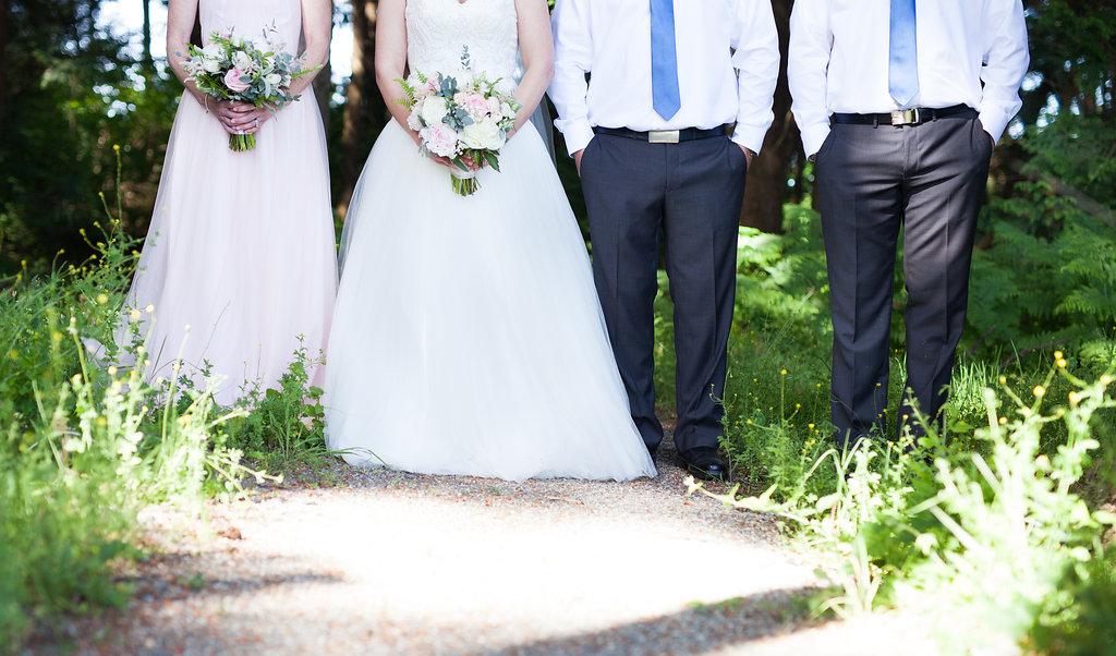 bridal party flower shot