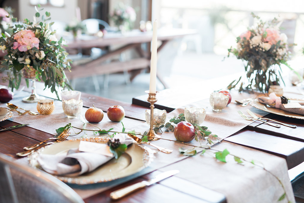 gold tapers reception apple rustic wedding