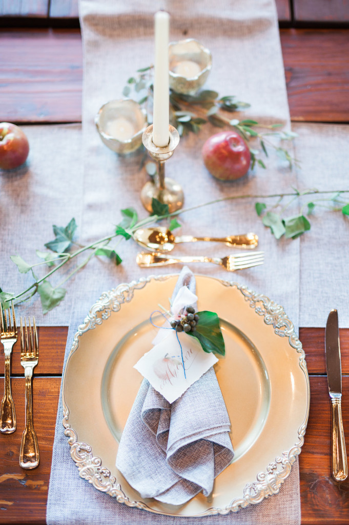 grey napkin rustic apple wedding