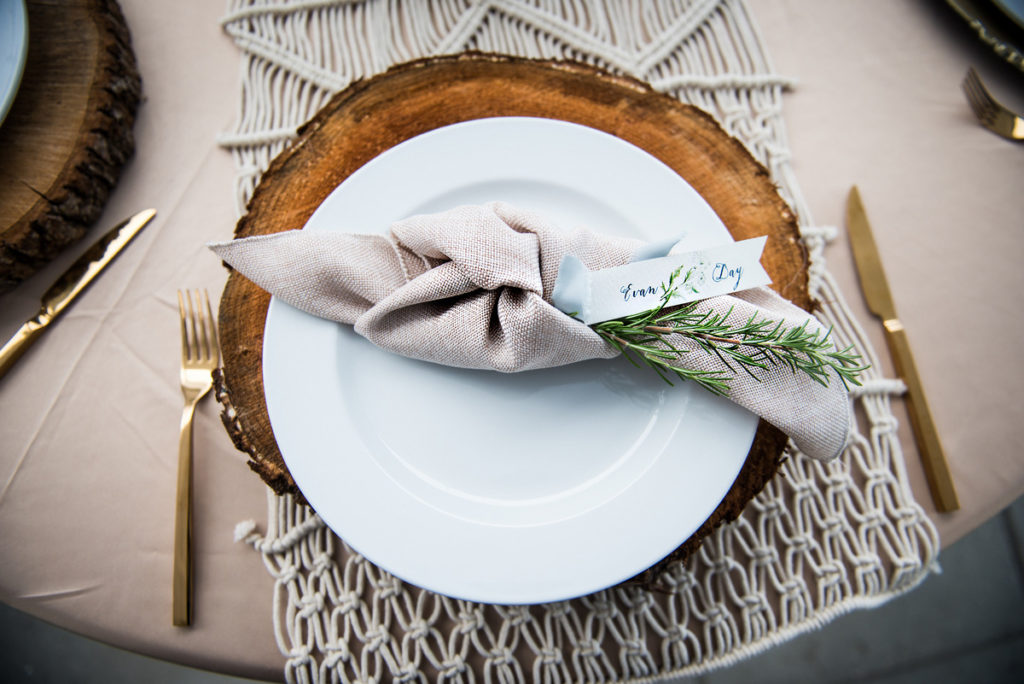 taupe wheat linen herb placecard seating