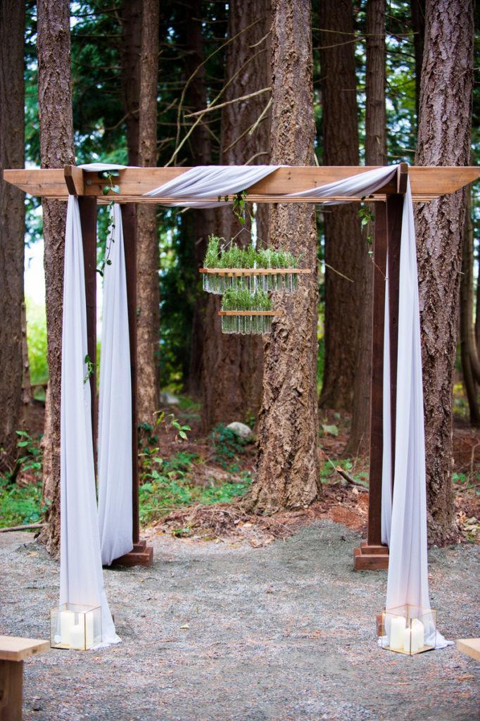wooden arch grey chiffon