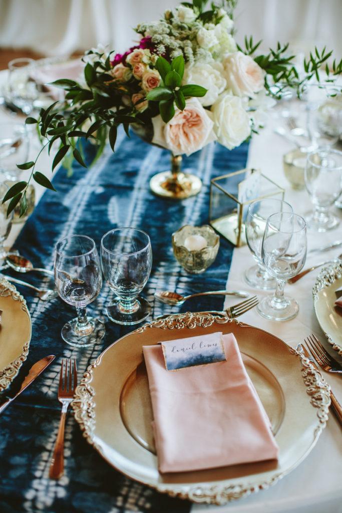 shibori table runner for wedding
